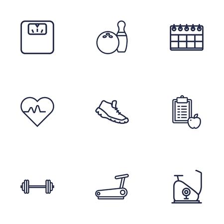 Set di 9 set di icone di fitness. Collezione Di Bowling, Esercizio Bici, Calendario E Altri Elementi. Archivio Fotografico - 76829230