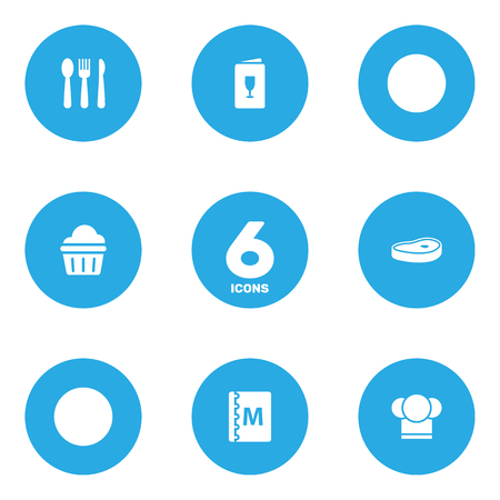 Set Of 6 Bar Icons Set. Collection Of Silverware, Meat, Chef And Other Elements.