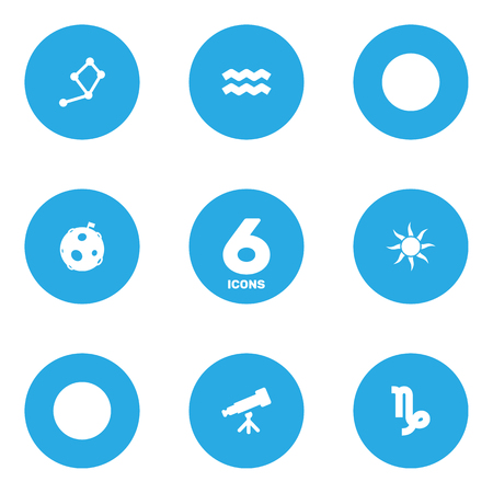 Set Of 6 Galaxy Icons Set. Collection Of Lunar, Horoscope, Binoculars And Other Elements.