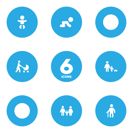 Set Of 6 People Icons Set. Collection Of Relatives, Perambulator, Kid And Other Elements.