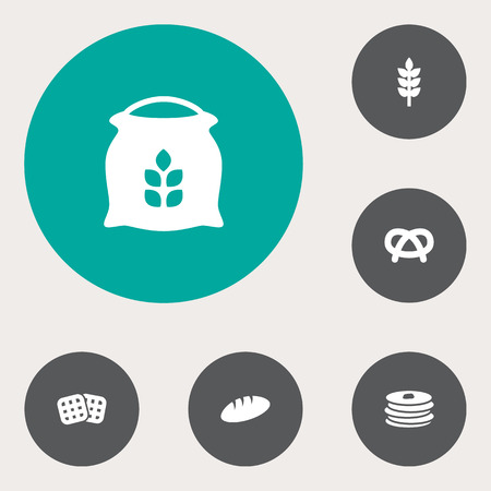 bretzel: Set Of 6  Icons Set.Collection Of Wafer, Sack, Grain And Other Elements.