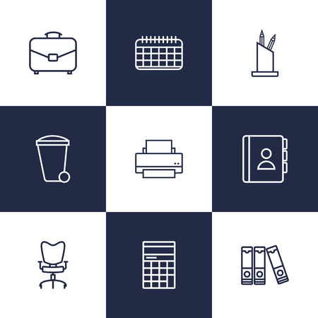 Set Of 9 Work Outline Icons Set.Collection Of Portfolio, Document Case, Pen Storage And Other Elements. Illustration