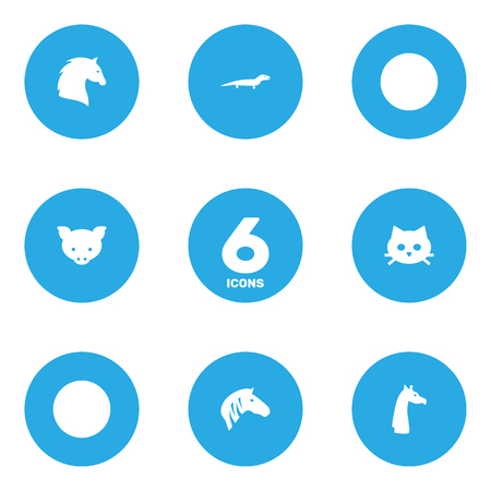 Set Of 6 Beast Icons Set.Collection Of Camel, Leopard, Steed And Other Elements.  イラスト・ベクター素材