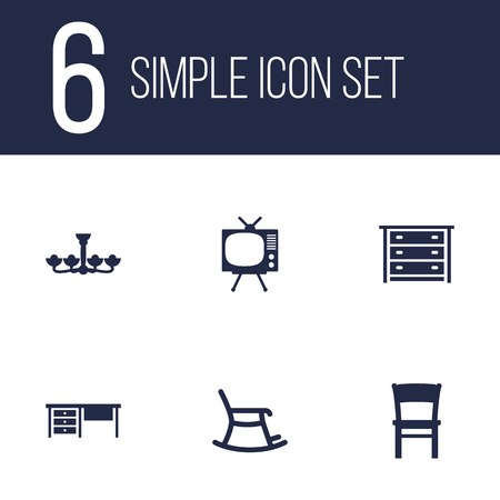 Set Of 6 Set; Decor; Situation Icons Set.Collection Of Television, Stool, Worktop And Other Elements.