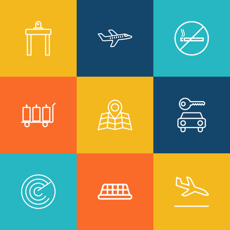 Set Of 9 Aircraft Outline Icons Set.Collection Of Sit, Detection, Airport Security And Other Elements.