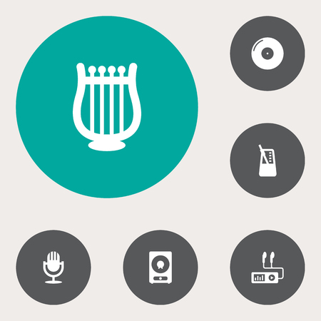 symphonic: Set Of 6 Melody Icons Set.Collection Of Audio Device, Karaoke, Retro Disc And Other Elements.