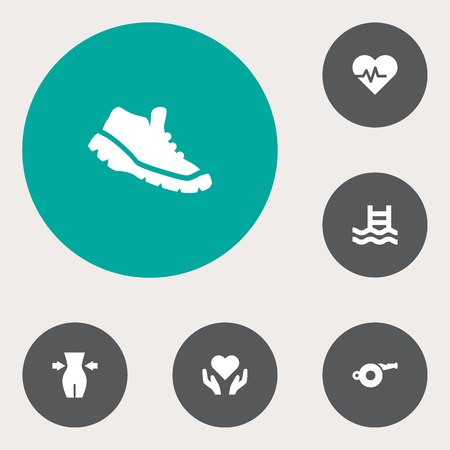 Set Of 6 Fitness Icons Set.Collection Of Blower, Slimming, Basin And Other Elements.