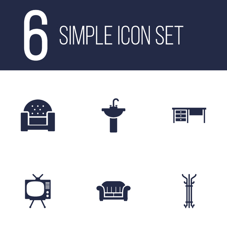 luxury house: Set Of 6 Set; Decor; Situation Icons Set.Collection Of Sofa, Worktop, Couch And Other Elements. Illustration