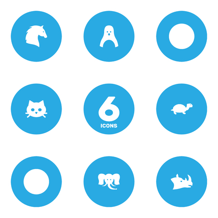 Set Of 6 Brute Icons Set.Collection Of Rhinoceros And Other Elements.