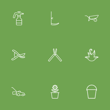 Set Of 9 Horticulture Outline Icons Set.Collection Of Pail, Barrow, Herb And Other Elements.
