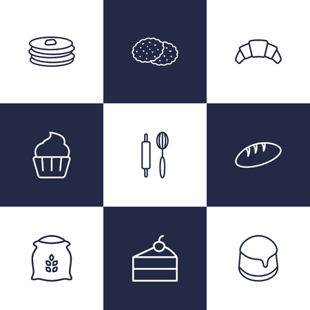 Set Of 9 Oven Outline Icons Set.Collection Of Bread, Cupcake, Cookie And Other Elements.
