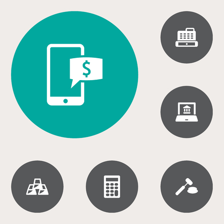 Set Of 6 Sponsor Icons Set.Collection Of Judge, Cashbox, Online Banking And Other Elements.