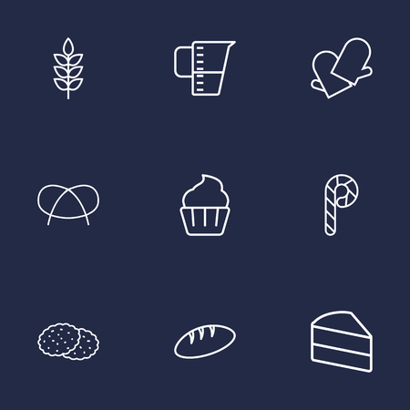 bretzel: Set Of 9 Oven Outline Icons Set.Collection Of Gloves, Cupcake, Candy Cane Elements.