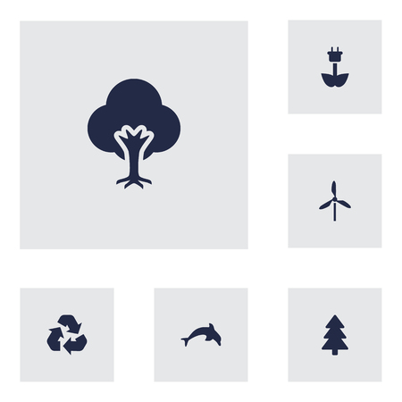 Set Of 6 Bio Icons Set.Collection Of Grampu, Wind Energy, Tree And Other Elements. Çizim