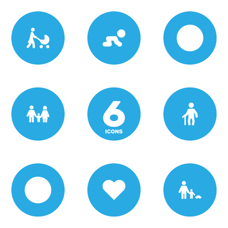 creep: Set Of 6 Relatives Icons Set.Collection Of Father With Son, Heart, Creep Baby And Other Elements.