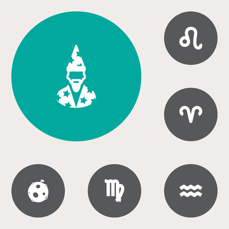 Set Of 6 Horoscope Icons Set.Collection Of Virgin, Ram, Augur And Other Elements.