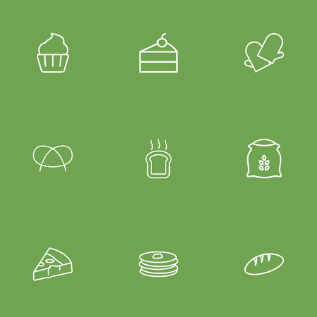 Set Of 9 Cook Outline Icons Set.Collection Of Cheesecake, Cupcake, Pancakes And Other Elements.