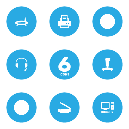 Set Of 6 Computer Icons Set.Collection Of Computer, Headset, Photocopy And Other Elements.