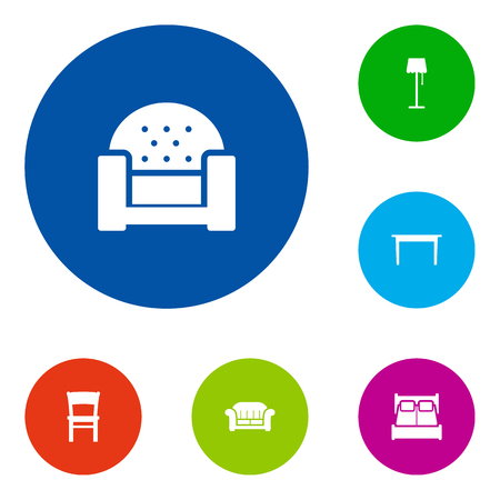 Set van 6 Set; Decor; Situatie Icons Set.Collection van kruk, bureau, slaapkamer en andere elementen.