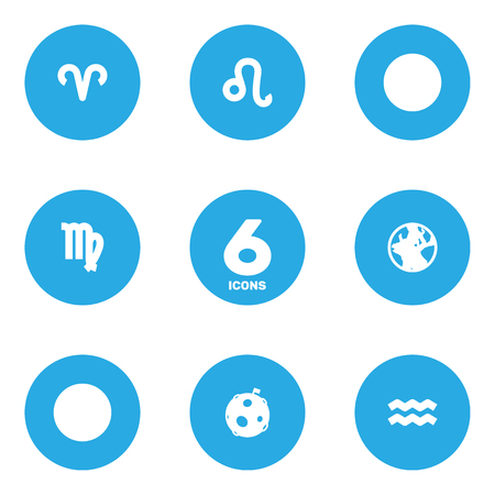 Set Of 6 Astrology Icons Set.Collection Of Ram, Earth Planet, Lunar And Other Elements. Illustration