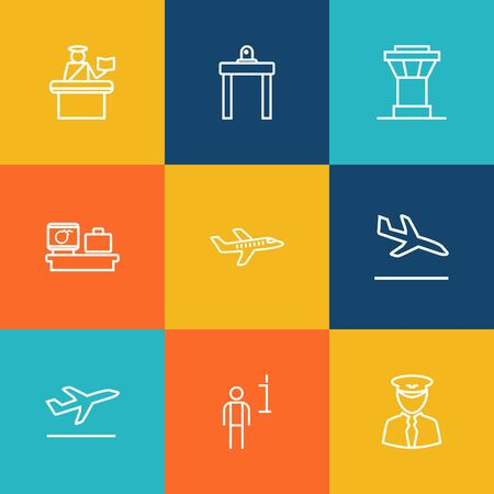 inform information: Set Of 9 Airplane Outline Icons Set.Collection Of Control Tower, Pilot, Flight And Other Elements.