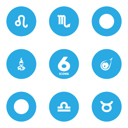 Set Of 6 Astronomy Icons Set.Collection Of Augur, Comet, Zodiac Sign And Other Elements.