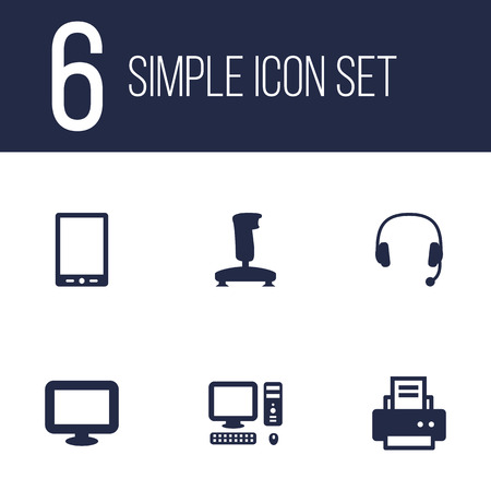 pad: Set Of 6 Computer Icons Set.Collection Of Palmtop, Headset, Peripheral And Other Elements.