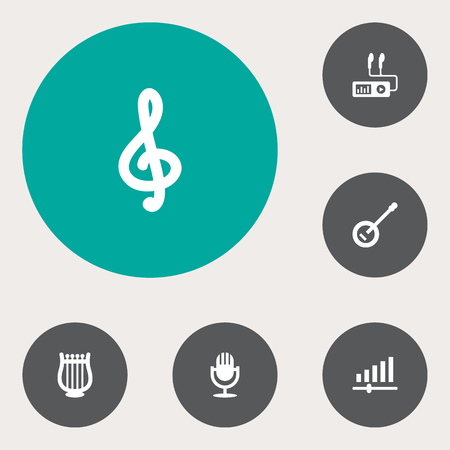scale icon: Set Of 6 Music Icons Set.Collection Of Quaver, Banjo, Lyre And Other Elements.