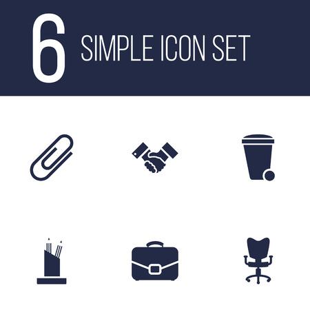 stapled: Set Of 6 Work Icons Set.Collection Of Clip, Trash Can, Diplomat And Other Elements. Illustration