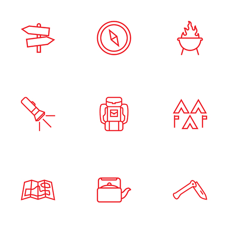 Set Of 9 Adventure Outline Icons Set.Collection Of Baggage, Gps, Encampment And Other Elements. Illustration