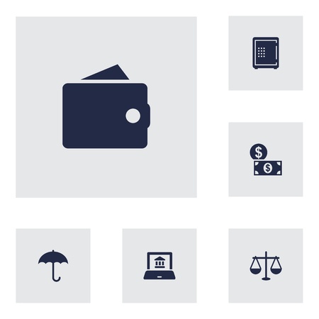 Set Of 6 Finance Icons Set.Collection Of Purse, Balance, Electron Report And Other Elements.