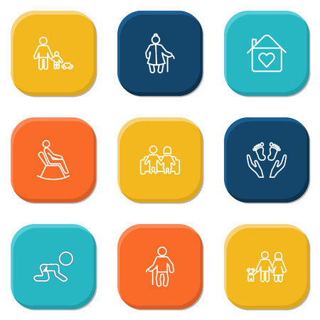 settee: Set Of 9 People Outline Icons Set.Collection Of Care, Home, Lovers And Other Elements.