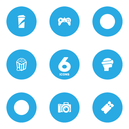 Set Of 6 Entertainment Icons Set.Collection Of Pass, Snack, Beverage And Other Elements.