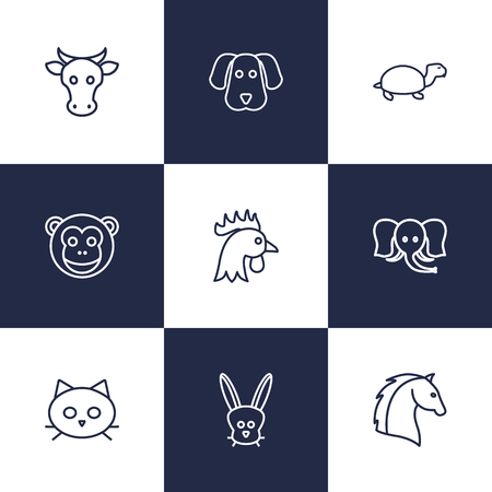 Set Of 9 Beast Outline Icons Set.Collection Of Dog, Rabbit, Cock And Other Elements. Illustration