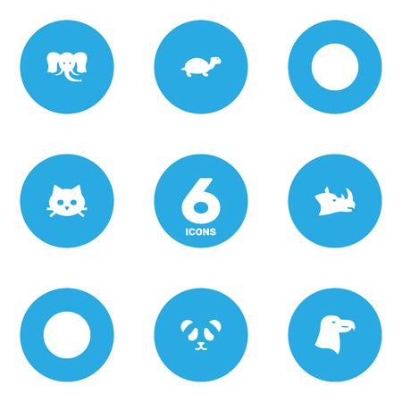 Set Of 6 Beast Icons Set.Collection Of Tortoise, Rhinoceros, Trunked Animal And Other Elements. Illustration