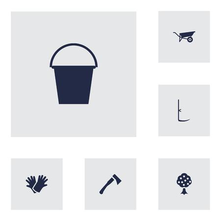 6 원 예 아이콘의 설정. 도끼, 수 are, 커터 및 다른 요소의 집합입니다. 일러스트