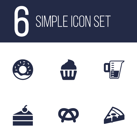 Set Of 6 Cook Icons Set.Collection Of Pepperoni, Doughnut, Measurement And Other Elements. Vettoriali