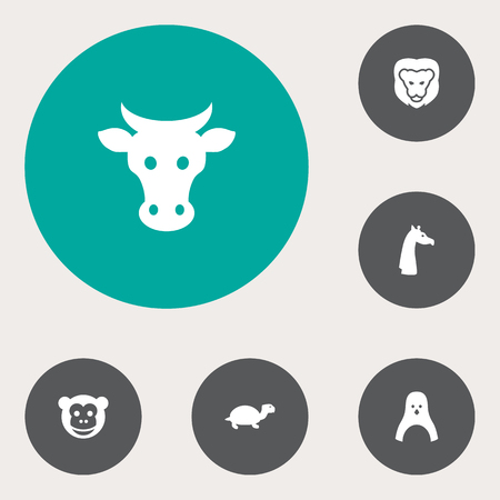 Set Of 6 Brute Icons Set.Collection Of Kine, Ape, Camelopard And Other Elements. Ilustrace