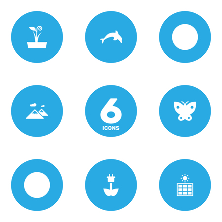 free range: Set Of 6 Eco Icons Set.Collection Of Pinnacle, Flowerpot, Moth And Other Elements.
