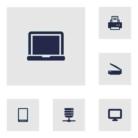 palmtop: Set Of 6 Computer Icons Set.Collection Of Palmtop, Laptop, Display And Other Elements.
