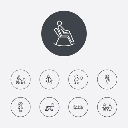 Set van 9 personen overzicht Icons Set.Collection van zwangere vrouw, kruipen Kid, springtouw en andere elementen.