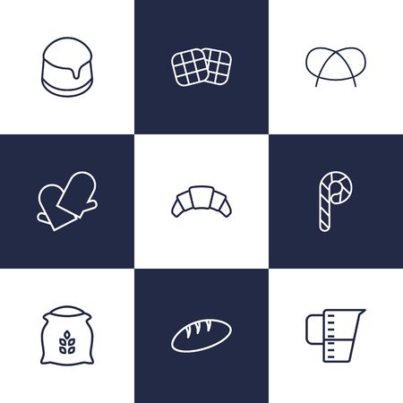 Set Of 9 Stove Outline Icons Set.Collection Of Bread, Waffle, Pudding And Other Elements.