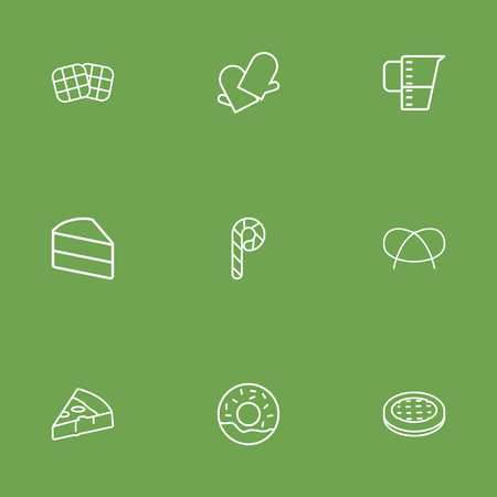 patisserie: Set Of 9 Stove Outline Icons Set.Collection Of Pizza, Waffle, Candy Cane Elements. Illustration