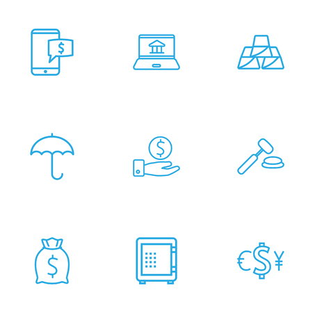 Set Of 9 Sponsor Outline Icons Set.Collection Of Internet Banking, Safe, Savings And Other Elements.