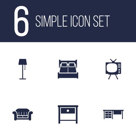 Set van 6 set; Decor; Situatie Icons Set.Collection van werkblad, nachtkastje, televisie en andere elementen.