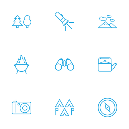 Set Of 9 Adventure Outline Icons Set.Collection Of Encampment, Teapot, Mountains And Other Elements.