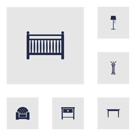sideboard: Set Of 6 Set; Decor; Situation Icons Set.Collection Of Illuminator, Sofa, Bedside Table And Other Elements.