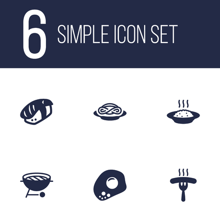 Set Of 6 Eat Icons Set.Collection Of Spaghetti, Barbecue, Eggs And Other Elements.