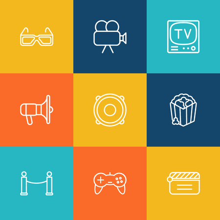 prestige: Set Of 9 Entertainment Outline Icons Set.Collection Of Popcorn, Movie Cam, 3D Glasses And Other Elements.