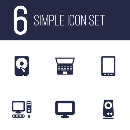 palmtop: Set Of 6 Notebook Icons Set.Collection Of Palmtop, Hard Disk, Amplifier And Other Elements.